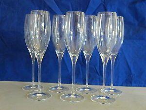 Set of 7 Vintage Crystal Champagne Flute Glasses Stemware
