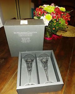 Waterford Crystal Glasses Millennium Collection Love Toasting Flutes Pair