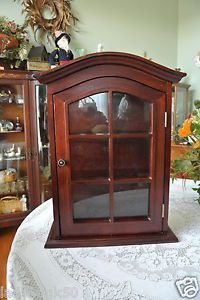 Mahogany Finish Wall Table Curio Cabinet Sides Glass Front Door Window Panes