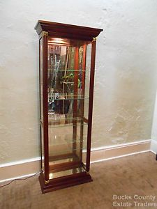 Pulaski Cherry Beveled Glass Lighted Curio Display Cabinet