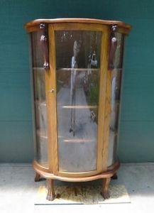 Antique Oak Bowed Front Side Glass Curio Cabinet