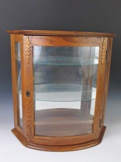 Antique Oak Wall Bow Front Curio Cabinet