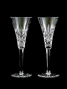 RARE Waterford Crystal Glass Ashbourne Champagne Flutes Glasses