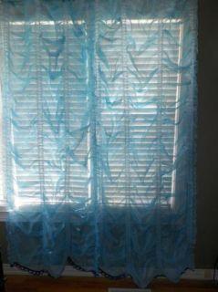 2 Pair Vintage Austrian Sheer Curtains Sky Blue Each Panel 42W x 81L