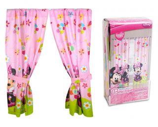 "Disney Minnie Mouse Curtain Drapes Windows Panels 42"" x 63"" Tie Backs"