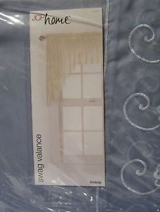 JC Penney JCP Lindsay Smoke Blue Sheer Embroidered Scallop Swag Valance Curtain