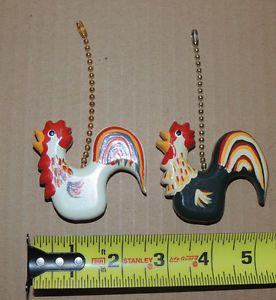 Wood Rooster Light Lamp Pull Pulls Chain Set 2 Lot Hand Painted Fan