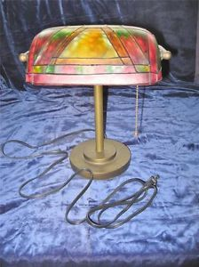 Vintage Bankers Tiffany Style Desk Lamp Red Green Yellow Colored Shade