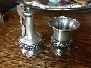 Antique Desk Table Lighter Set Ronson Decanter Vintage Cigarette Holder Pewter