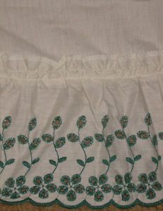 "New Eyelet Lace 18""Ruffle Tuck Window Curtains Valance Shabby Country Chic Green"
