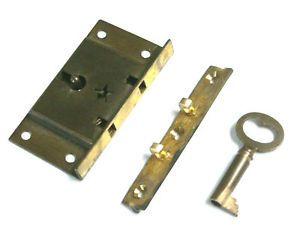 Antique Brass Lock Keep Catch w Skeleton Key for Drawers Desks Box Star