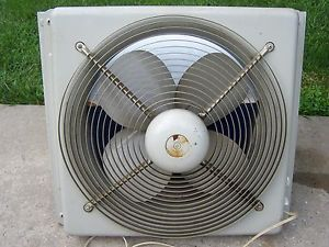 "Hunter Whole House Window Metal Fan Reversible 2 Speed Thermostat 18"" 4 Blade"