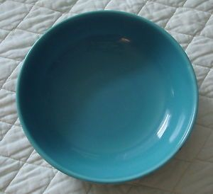 Vintage Fiesta Ware Bowl Dish Decor Ceramic Pottery Turquoise Blue Unmarked