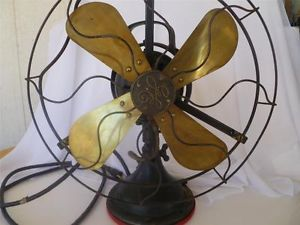 Vintage Antique GE Electric Fan Multi Speed Oscillating Brass Blades w Handle