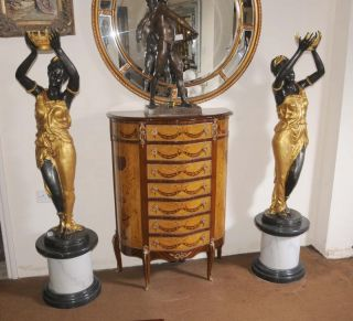 Pair XL French Bronze Female Figurines Statues Blackamoors Architectural