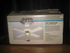"""Hampton Bay 42"""" White Ceiling Fan Harbor Light New in Box Flush Mount Brass"""