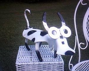 Steampunk Recycled Metal Farm Garden Tool Yard Folk Tramp Art Sculpture Cow Bull