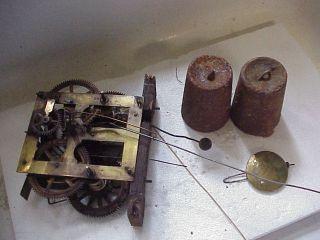 Antique 30 HR Weight Driven Ogee Style Clock MVT Weights Pendulum