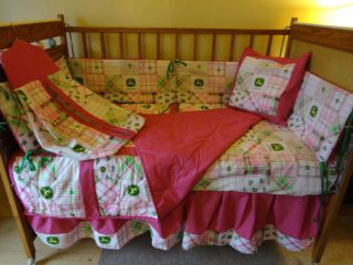 John Deere Baby Nursery Crib Toddler Kids Bedding Set Pink Madras w Bonus Sheet