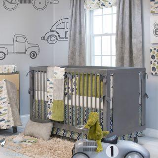Glenna Jean Baby Boy Grey Vintage Car Truck Crib Nursery Bedding Quilt Bed Set