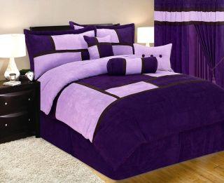 New Bed in A Bag Purple Suede Comforter Set Queen King