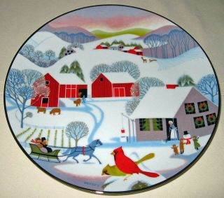 Betsey Bates Annual World Book Christmas Morning 1980 Folk Art Plate Orig BX COA