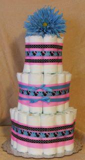 3 Tier Diaper Cake Walt Disney Minnie Mouse Baby Shower Centerpiece Pink
