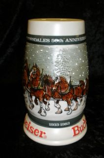 Budweiser Clydesdales Beer Stein 1982 Holiday