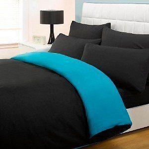 Fusion Reversible Teal Black Single Size Duvet Cover Set 3ft Bed Bedding New