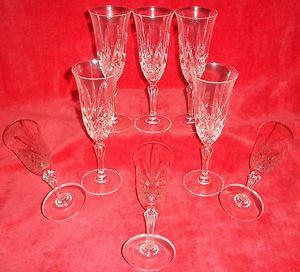 8 J G Durand Cristal D'Arques France Crystal Champagne Flutes Garanti Pattern