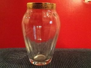 New Lenox Autumn Gold Heavy Crystal Glass Vase Gold Rim Stamped Lenox Flower Bud