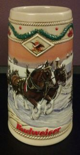 """Budweiser Holiday Beer Stein 1996 Collector's Series """"American Homestead"""""""