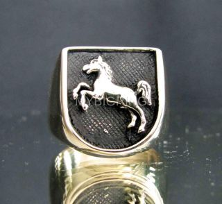 Fine Bronze Ring Stallion Horse Coat of Arms Medieval Knight Antiqued All Sizes