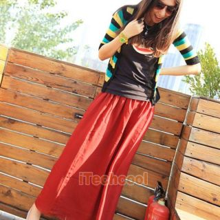 Elegant Women Chiffon Pleated Long Maxi Skirt Elastic Waistband New T1K