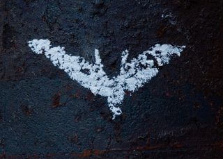 Batman The Dark Knight Rises Logo Chalk Decal Sticker Movie Prop Comic Con
