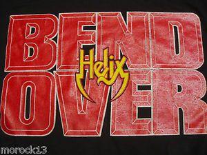 Vintage 80s Helix Bend Over Concert Tour Shirt Screen Stars Heavy Metal Love