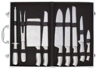 10pc Stainless Steel Cutlery Set in Aluminum Case Knife Set Kitchen Knives