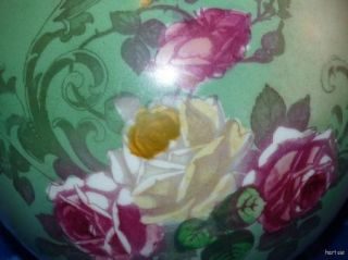 Antique Hand Painted Glass Shade Gone with The Wind Lamp Roses Shabby Chic