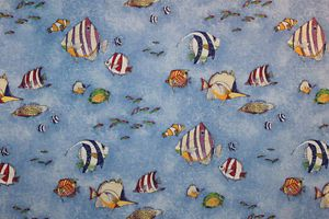 "Bloomcraft Screen Print Tropical Fish Cotton Fabric 15"" New"