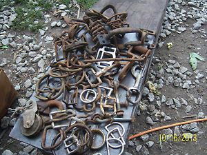 Horse Harness Latches Rings Hooks Mixed Hardware Lot of 65 8lbs Vintage