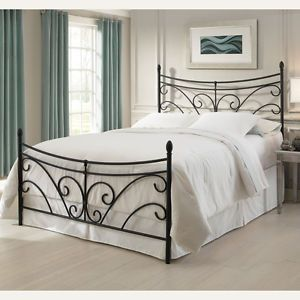 Queen Size Bergen Metal Bed Frame with Headboard and Footboard in Matte Black