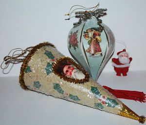 Lot Holiday Christmas Ornaments Decor Vintage Style Santa Claus Angels Glittery