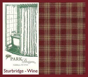 Country Primitive Homespun Plaid Burgundy Tan Shower Curtain Home Decor