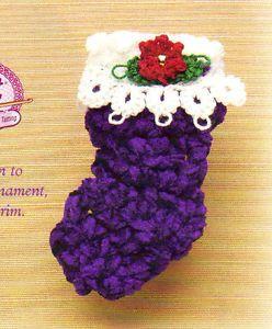 Pretty Mini Christmas Stocking Pin Ornament Decor Crochet Pattern Instructions