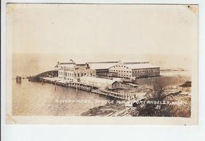 Lumber Mill Port Angeles Washington WA Old RPPC Postcard Clallam County Vintage