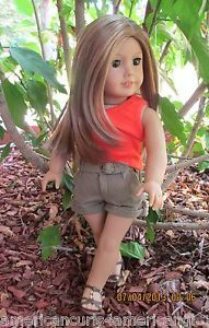 "American Girl Doll ""Custom OOAK"" Caramel Hair Brown Eyes Freckles"