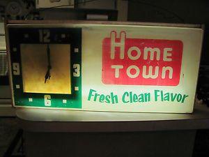 Vintage Gundlach Dairy Milk Home Town Ice Cream Light Up Advertising Sign Clock