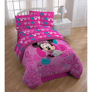 Kids Disney Minnie Mouse Twin Full Comforter Sheets Bedding Set Girls Bed Room