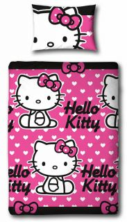 Hello Kitty Hearts Single Duvet Quilt Cover Pillowcase Kids Girls Bedding Set
