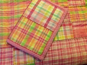 Pottery Barn Kids Girls Bedding Madras Plaid Quilt Decorative Sham Twin